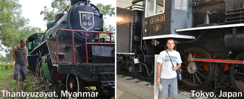 Two of the three remaining Burma Death Railway Locomotives