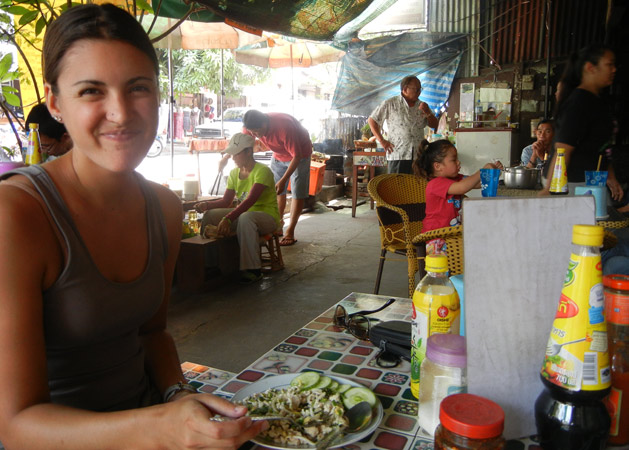 Eating at a family-owned restaurant in Laos.  Not found in any travel guide.