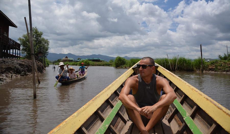 Dan on a boat trip around Inle Lake in Myanmar