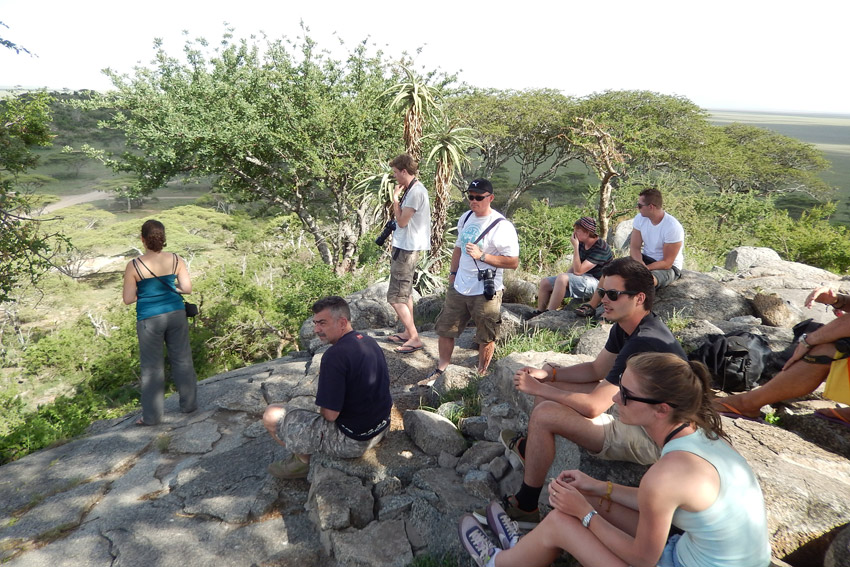 Our group enjoying a panoramic view of the Serengeti