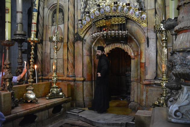 Guarding Jesus's tomb.