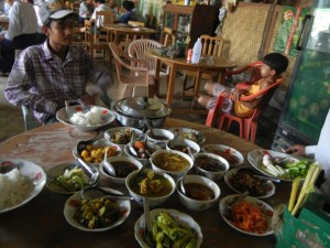 Lunch in Myanmar.  I have no idea what anything is on this table.